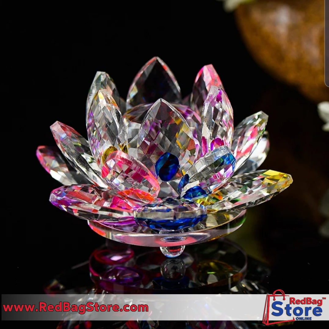 Quartz Crystal Lotus Flower Crafts Glass Paperweight Figurines Decor Gifts Souvenir