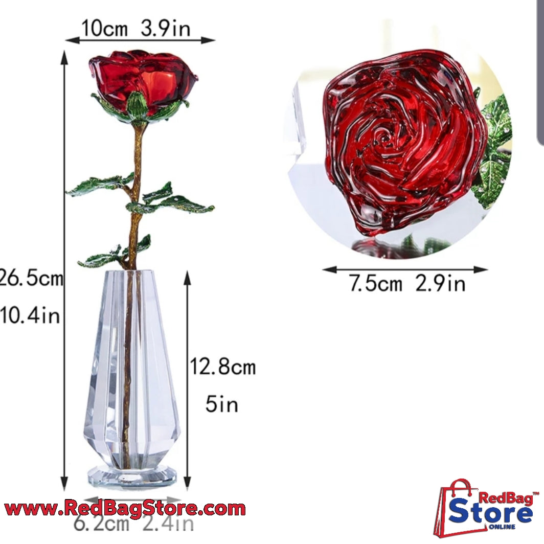 Crystal Red Rose Flower Figurines Craft Birthday Valentine's Day Favors X'mas Gifts Wedding Home Table Decoration Ornament
