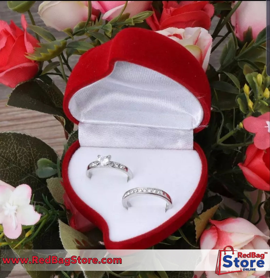 Double Wedding Rings Box Velvet Heart Shape Red Rose Flower Box Jewelry Display