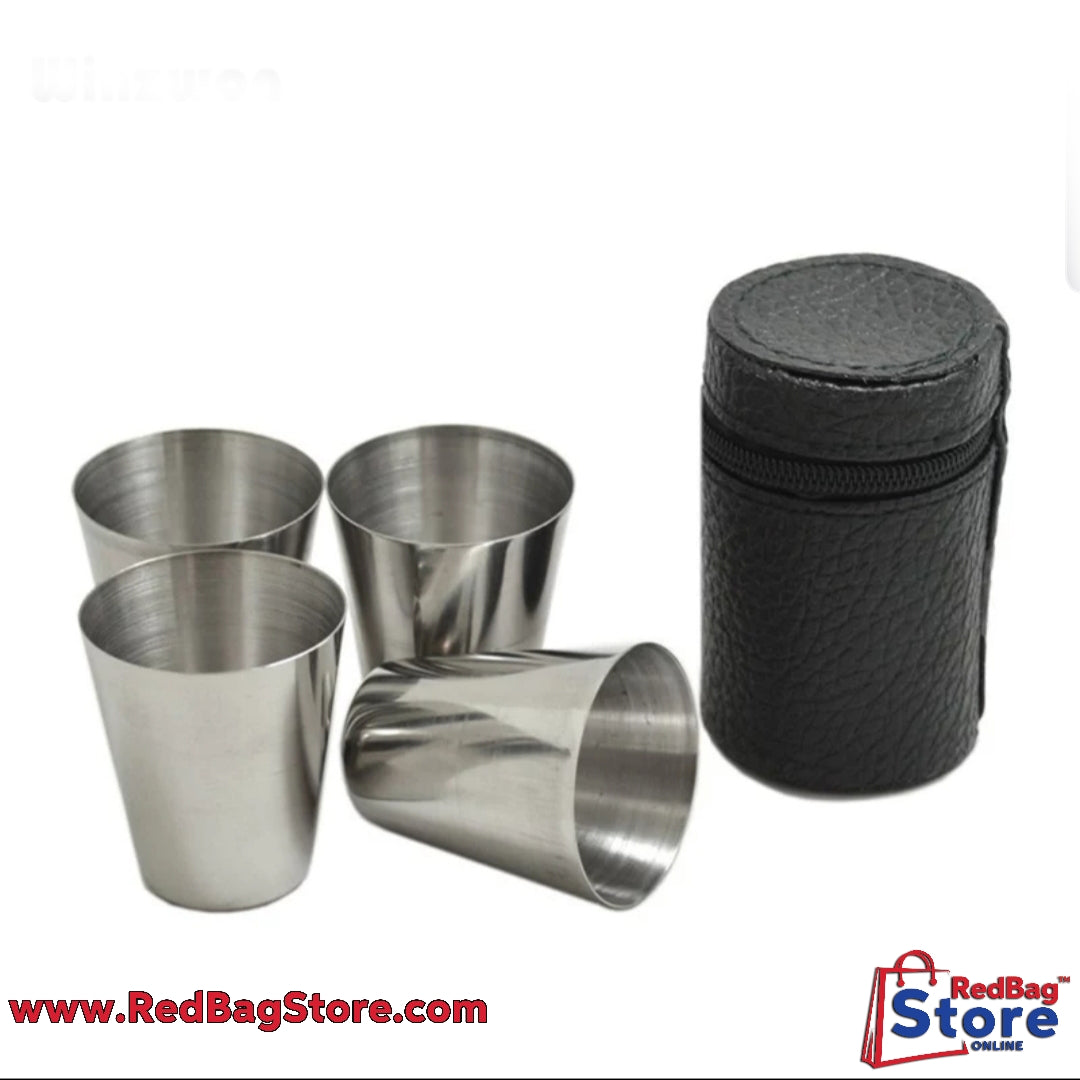 4Pcs Set 30ML Stainles Steel Polished Wine Drinking Shot Cup With Leather Cover For Home Kitchen Bar