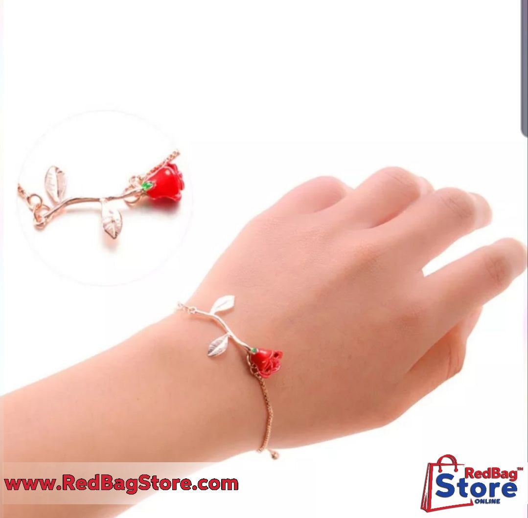 Gift for girlfriend Bracelet Red Rose Bracelet for souvenir wedding Present Favor party