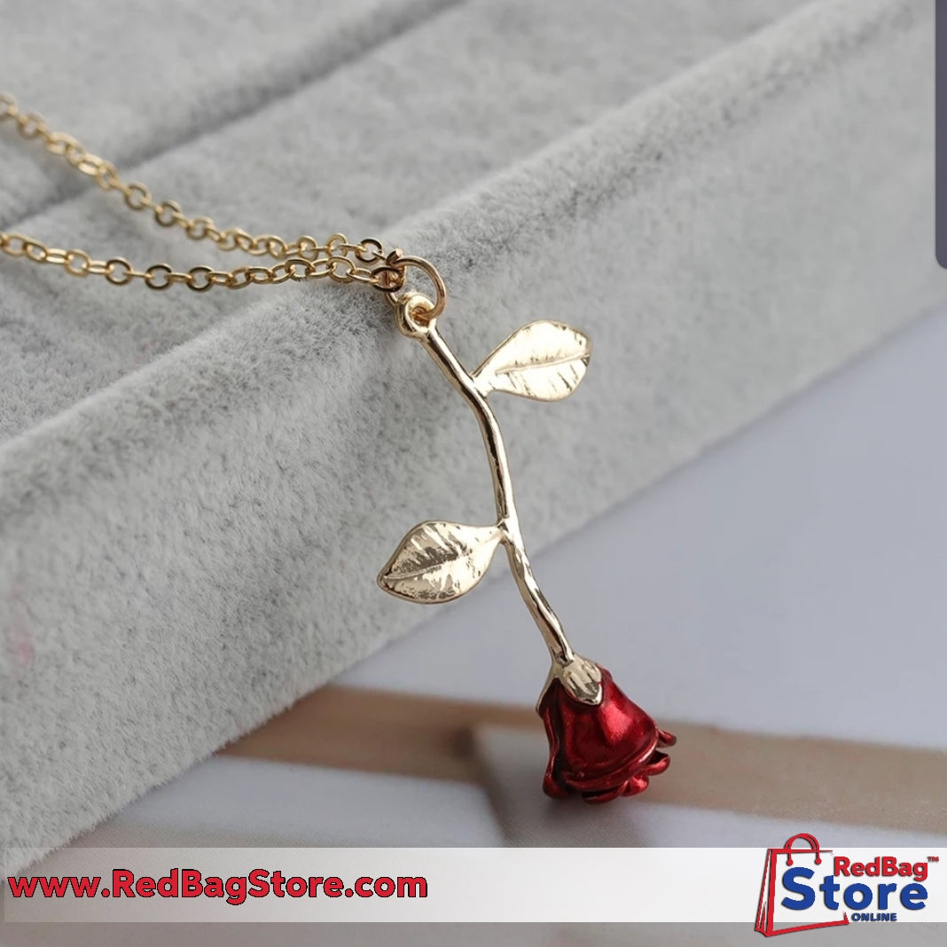 Red Rose Flower Statement Necklace Women Choker Rose Gold Color Flower Pendant Necklace Gifts