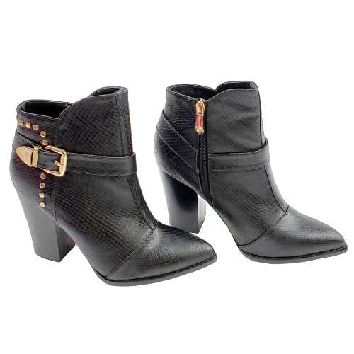 Cape Robbin Zoe-DH-1 Women's Black Gold Chunky Heel Ankle Booties New