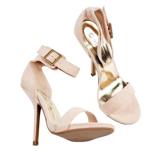 Wild Diva Lounge Cecily-20 Heels Pace V-Suede Nude Sandal Womens New