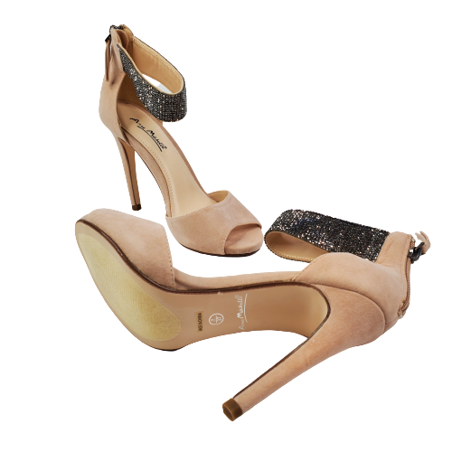 Anne Michelle Perton-65 Women Shimmer Cuff High Heel Pump Black Nude