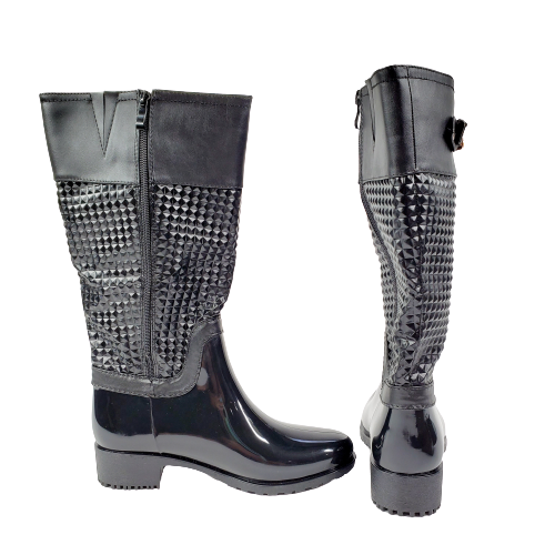 Top Moda Rainy-35 Women's Rubber Studded Buckle Black Rain Boots New