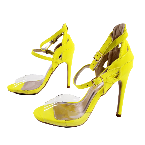 Qupid Glee-91 Women Hot Pink Neon Yellow Strappy Sandal Stiletto Heel
