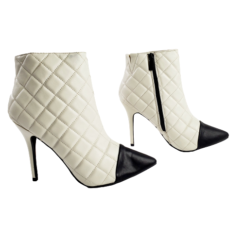 Dollhouse Infinite Women's Quilted Two Tone Toe Cap Classic Ankle Bootie