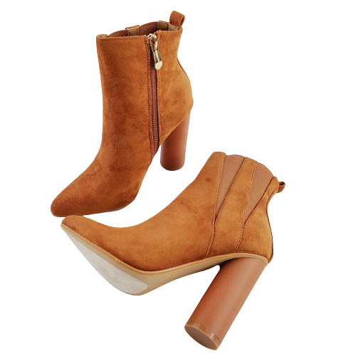 CAPE ROBBIN Paw-10 Women's Dust Rose Camel High Heel Pointy Ankle Boot