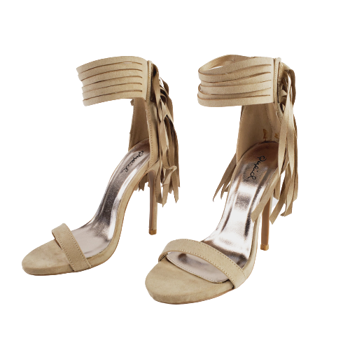 Qupid Glee 60X Women's Taupe Open Toe Fringe Ankle Cuff Dress Sandal