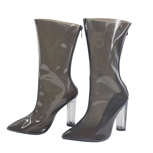 Cape Robbin Ella-1 New Women's Mid-Calf Pointed Toe Lucite Circular Heel Boot
