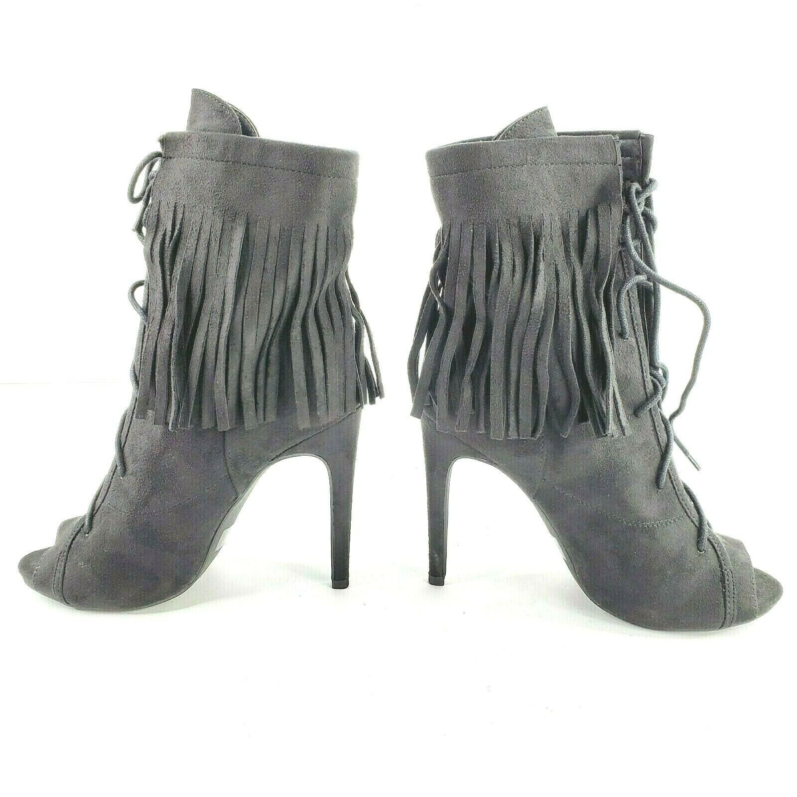 Wild Diva Lounge Evelyn-22 Womens Size 7.5 Black Fringed Peep Toe Classic Bootie