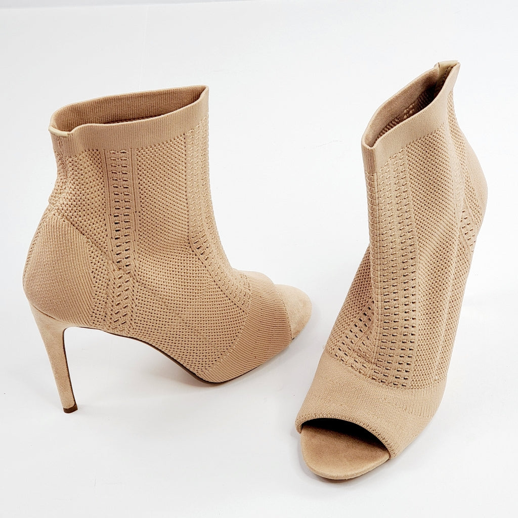 Cape Robbin Elnora-26 Women's Knit Heeled Booties Nude Black Erin Heels