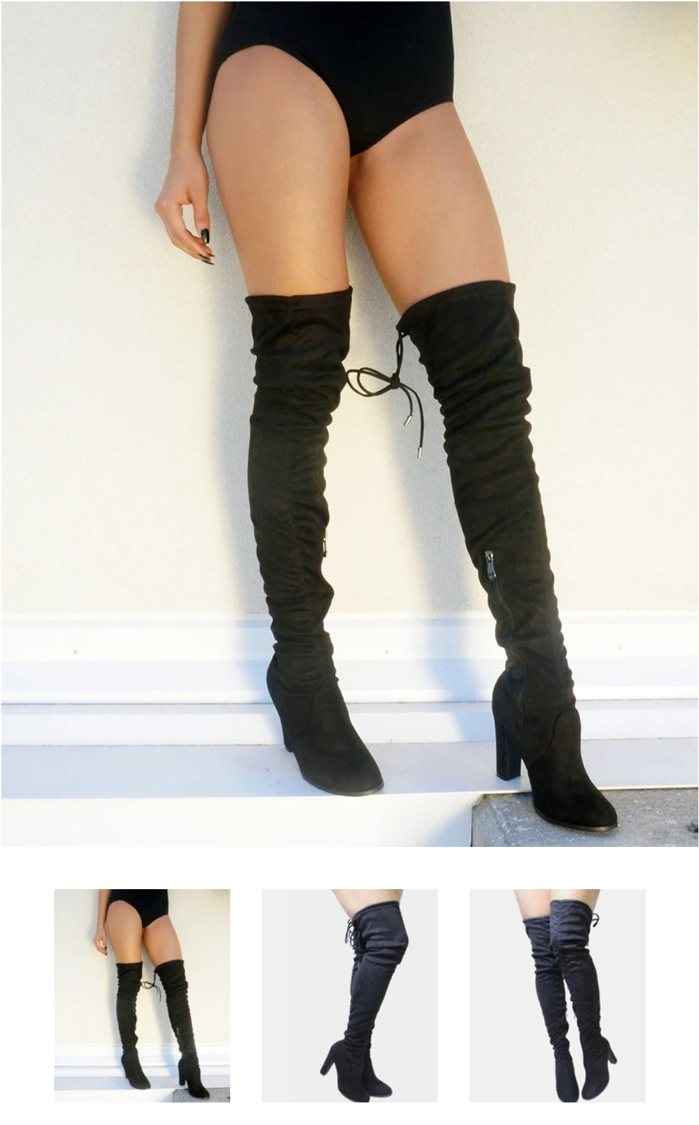 Cape Robbin Mona 1 Women's Black Khaki Faux Suede Chunky Thigh High Boot