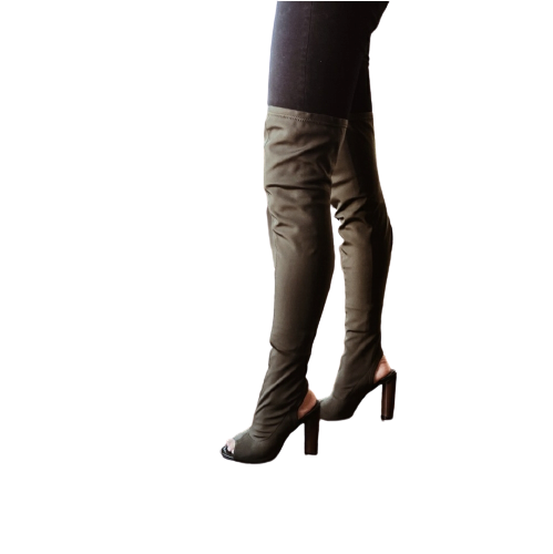 Cape Robbin Connie-1 Women's Lycra Over The Knee Thigh High Peep Toe Boot