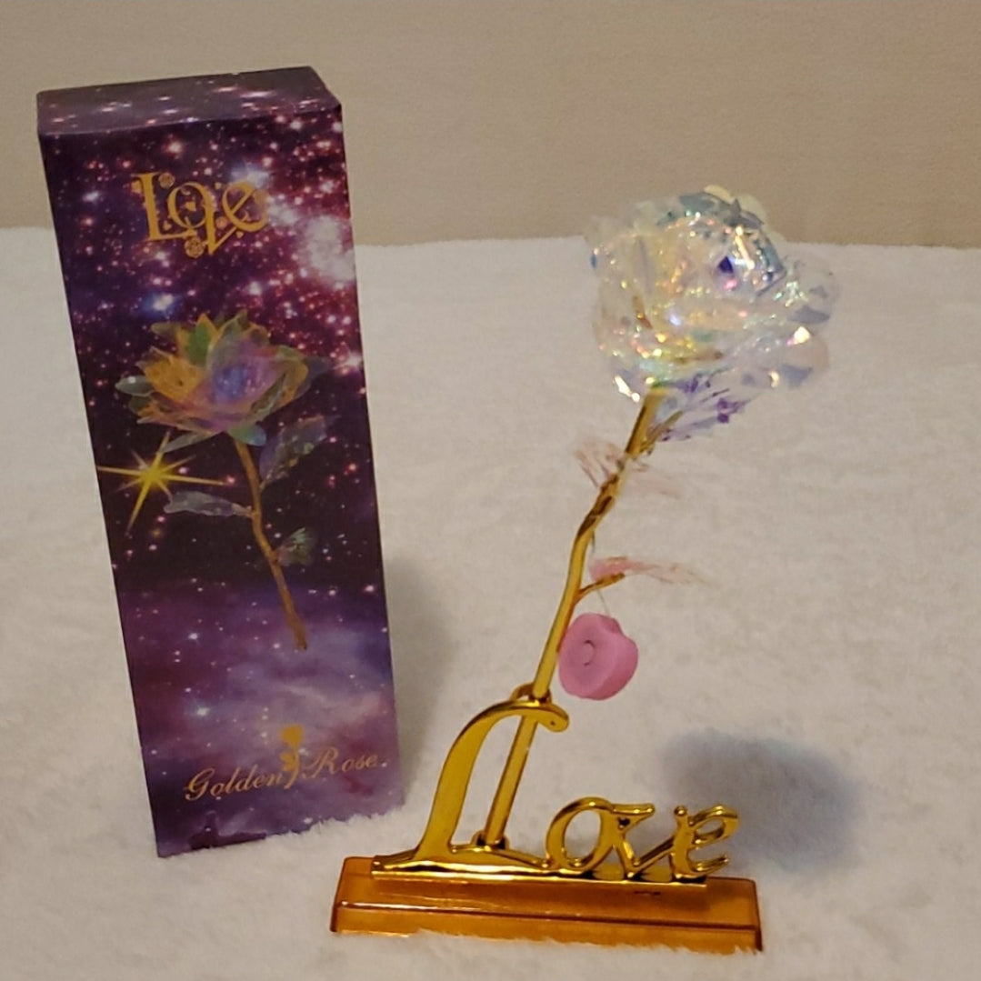 Valentine's Day Gift 24K Foil Plated Gold Rose Lasts Forever Love Wedding Decor Lover Lighting Rose