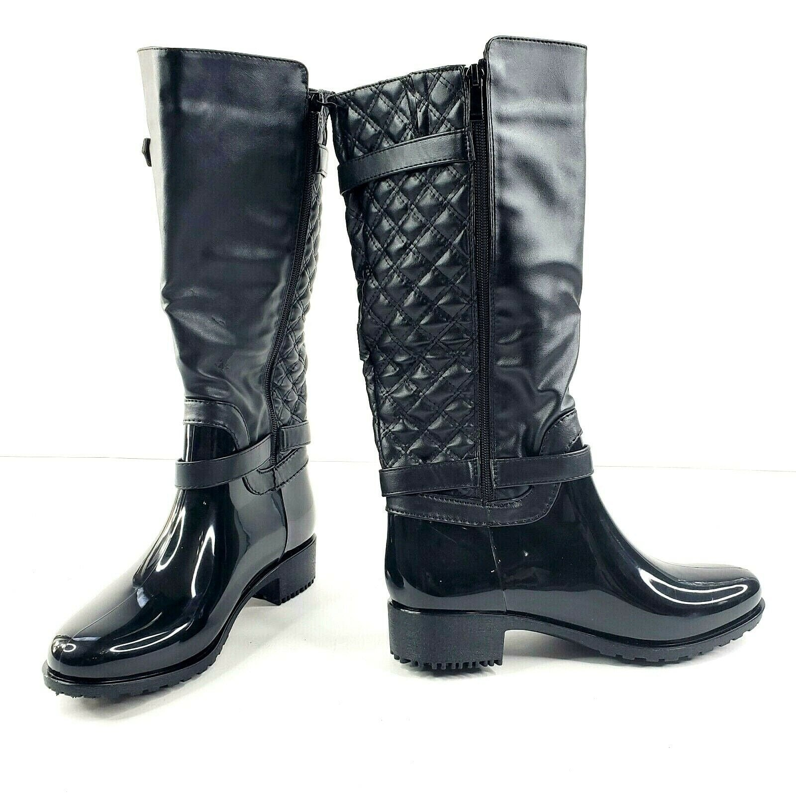 Top Moda Rainy-6 Women's Black Rubber Studded Buckle Rain Boots Zip New