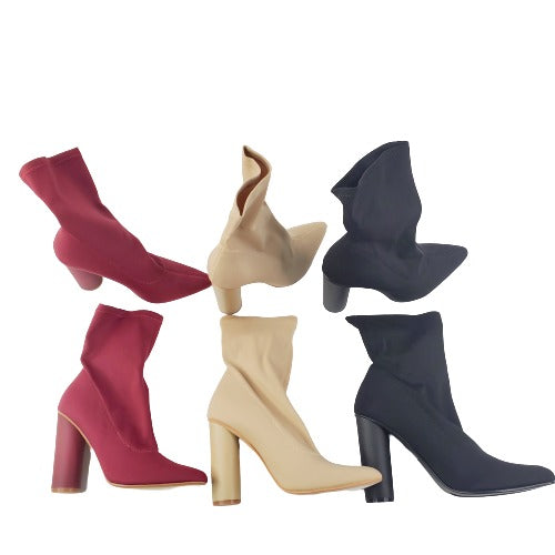 CAPE ROBBIN Paw-1 Women's Pointed Toe Lycra Elastic Pull-On Ankle Bootie