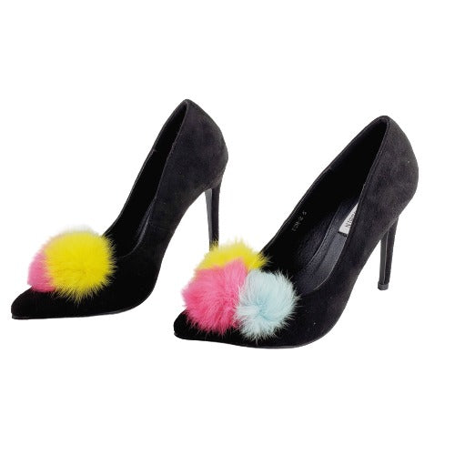 Cape Robbin Pom-2 Women's Such A Tease Nude Black High Heels Pointed Toe