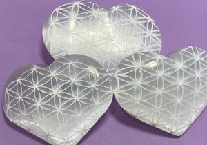 Selenite Heart - Etched with Flower of Life