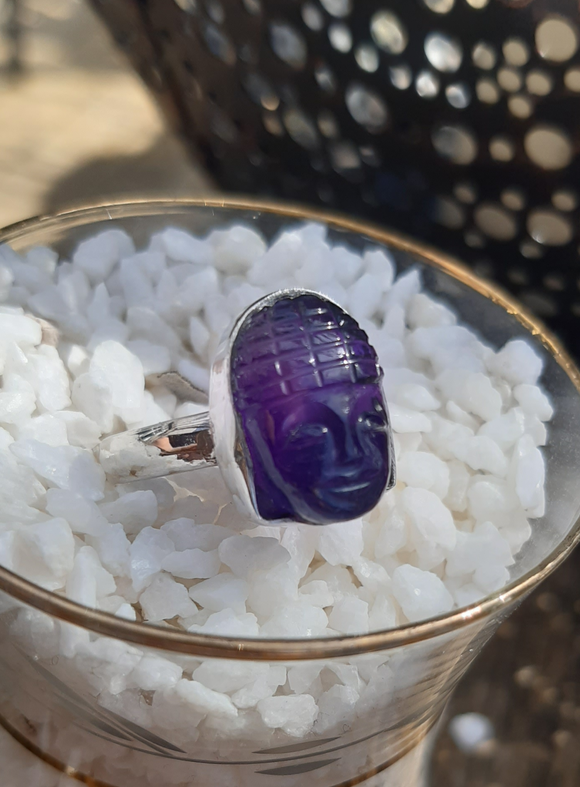 Amethyst Carved Buddha Ring