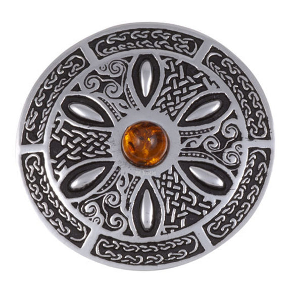Pewter Shield Brooch with Amber Stone