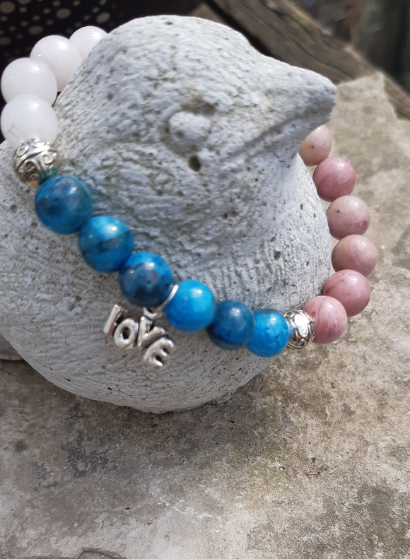 Mixed Gemstone Bracelet with Charm