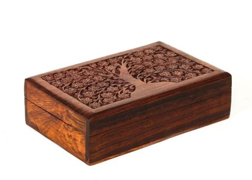 Flowering Tree of Life Box - Carved