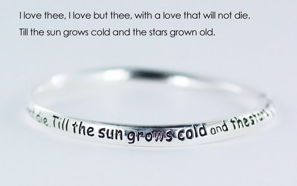 Shakespeare - I Love Thee - Pewter  Bangle Bracelet