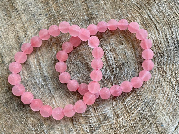 Pink Watermelon Quartz - Matte Finish Bracelet