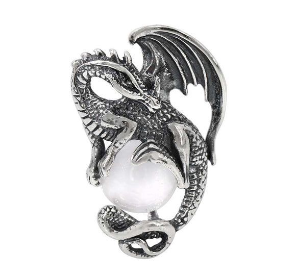 Dragon - with Crystal Ball - Silver