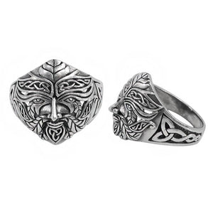 Green Man Ring with Trinity Knot