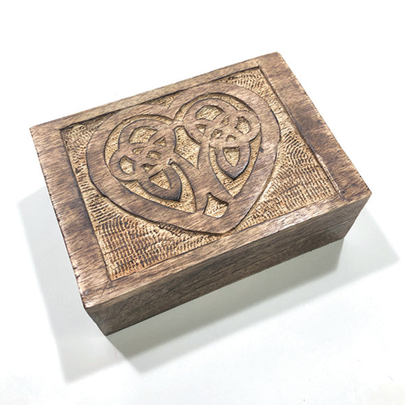 Carved Celtic Heart Trinket / Storage Box