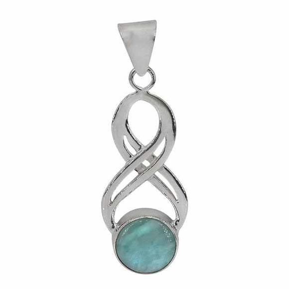 Larimar Infinity Pendant - Sterling Silver