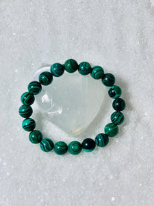 Genuine Malachite Bracelet - 8mm - stretch.