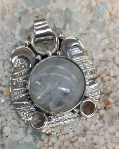 Moonstone or Labradorite -  Triple Moon Pendant - Sterling Silver