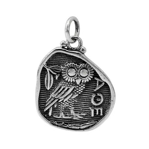 Athena Owl Pendant - Sterling Silver