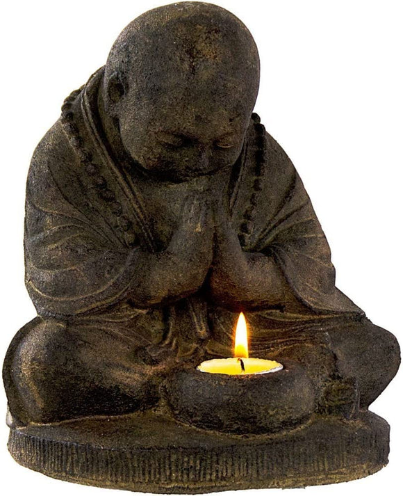 Praying Monk Statue - Volcanic Rock