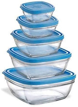 Load image into Gallery viewer, Duralex Lys Freshbox Square - 5 piece set with blue lid Clementine Boutique