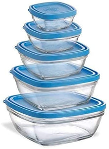 Duralex Lys Freshbox Square - 5 piece set with blue lid