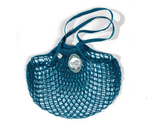 Filt Tote Net Bag Medium - Teal Blue- Made in France - Clementine Boutique