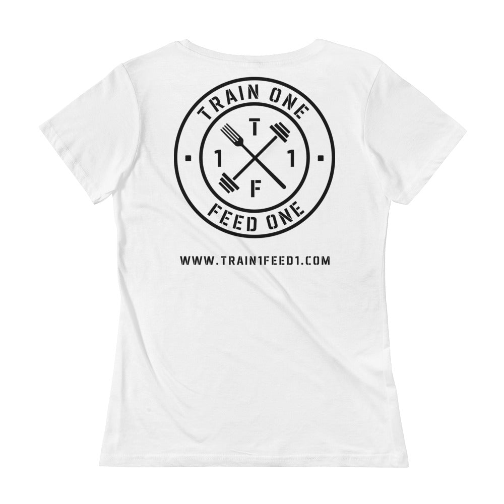T1F1 Logo Women's Scoop Neck Tee (Black Logo)
