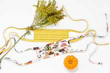 Load image into Gallery viewer, Organic Cotton Face Mask with Flexible Nose and Ties- Copper Autumn Florals