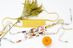 Organic Cotton Face Mask with Flexible Nose and Ties- Goldenrod Yellow