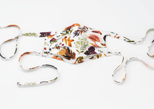 Organic Cotton Face Mask with Flexible Nose and Ties- Copper Autumn Florals