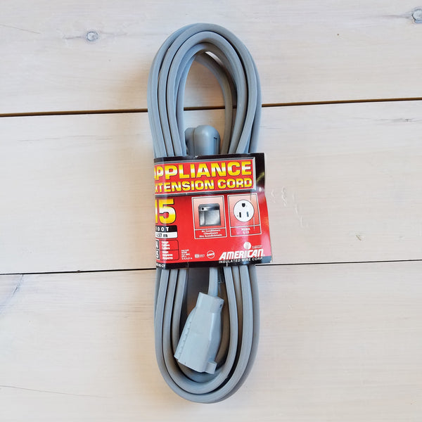 15' 14 Gauge Grey Appliance Extension Cord