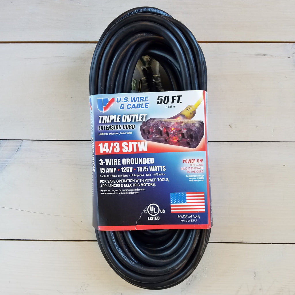 50' 14 Gauge Black Extension Cord with Lighted Triple Outlet - USA