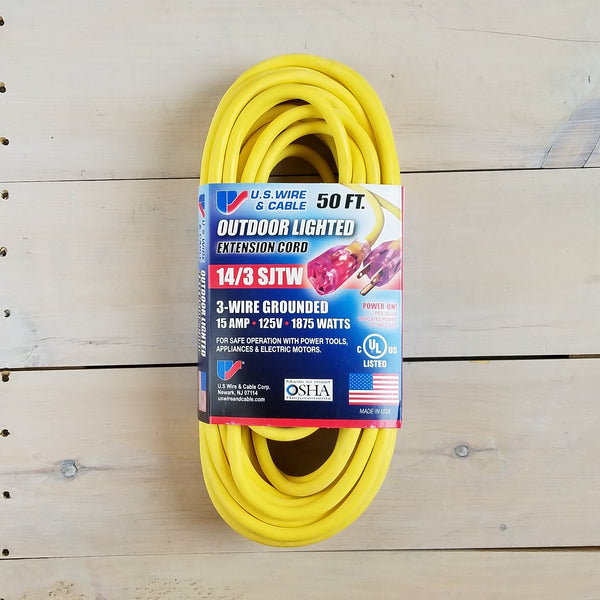 50' 14/3 SJTW Yellow Extension Cord with Lighted End