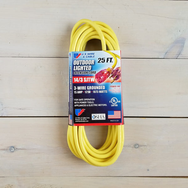 25' 14/3 SJTW Yellow Extension Cord with Lighted End