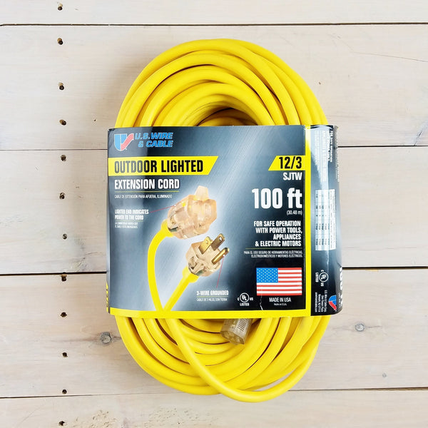 100' 12/3 SJTW Yellow Extension Cord with Lighted End